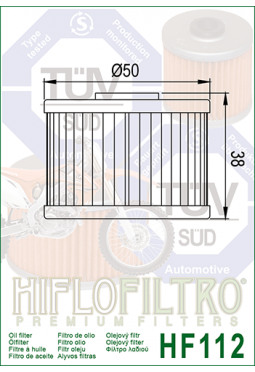 Filtro aceite HIFLOFILTER HF112 XR250/400 KXF450 TRX200/250 TORNADO