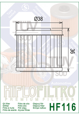 Filtro aceite HIFLOFILTER HF116 CRF 150/250/450 TRX 04/09