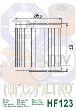Filtro aceite HIFLOFILTER HF123 KLR 250/600 KLX 650 TENGAI