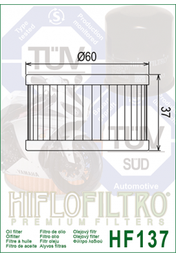 Filtro aceite HIFLOFILTER HF137 DR650/800