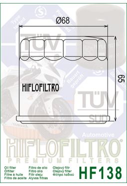 Filtro aceite HIFLOFILTER HF138 GSX600/750/1100/KATANA/INTRUDER