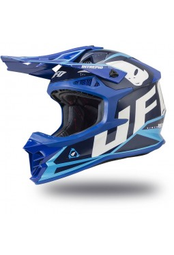 Casco Ufo Intrepid Azul - Celeste Y Blanco